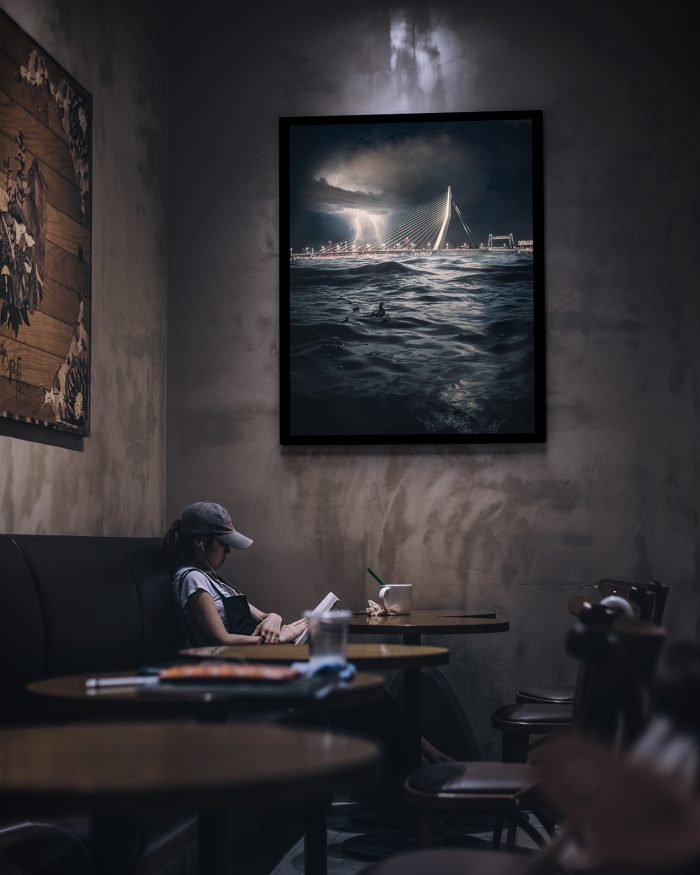 Rotterdam - Storm at Sea - Ingelijst
