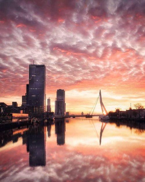 Rotterdam - Magical Sunset - Noordereiland - Vertical